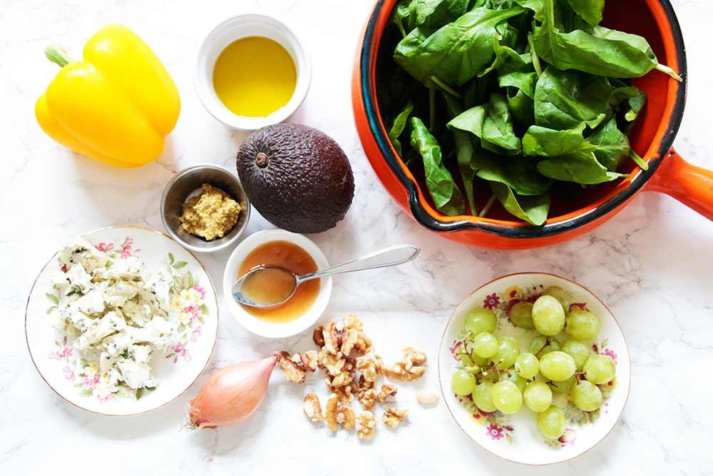 spinaziesalade-ingredienten