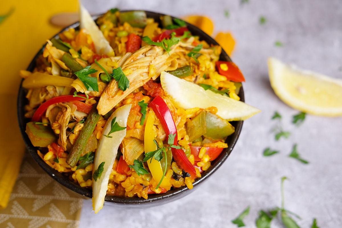 vegan paella met bananenbloesem